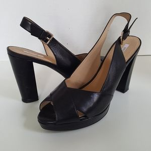 Geox Respira Black Leather Ankle Strap Sandals